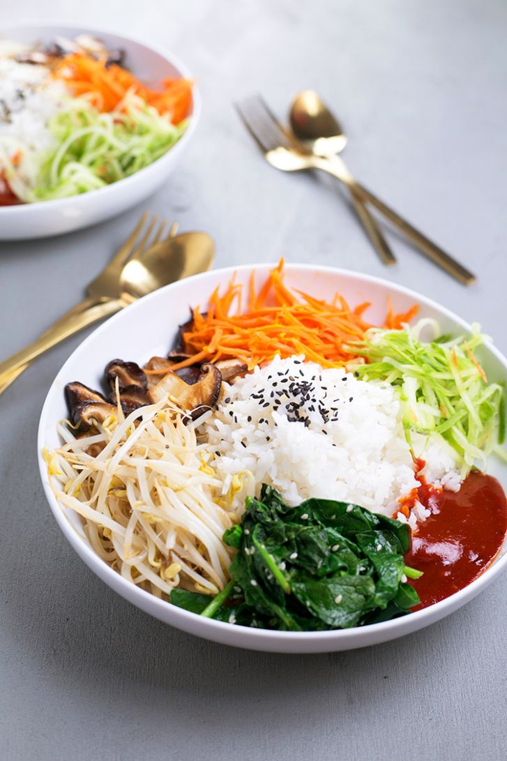 Vegan Korean Bibimbap - Healthy Recipes Korean