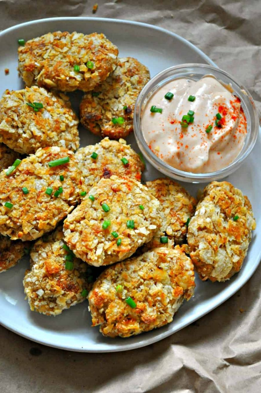 Vegan Potato Chip Crusted Chicken Nuggets with Fry Sauce - Recipes Using Potato Chip Crumbs