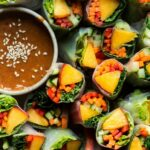 Vegan summer rolls with nectarine