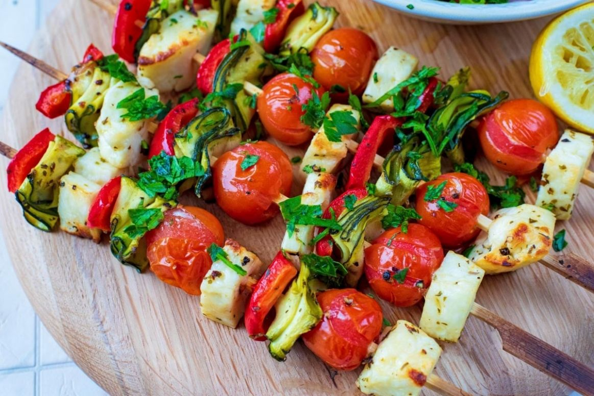 Vegetable and Halloumi Kebabs - Recipe Vegetarian Kebabs