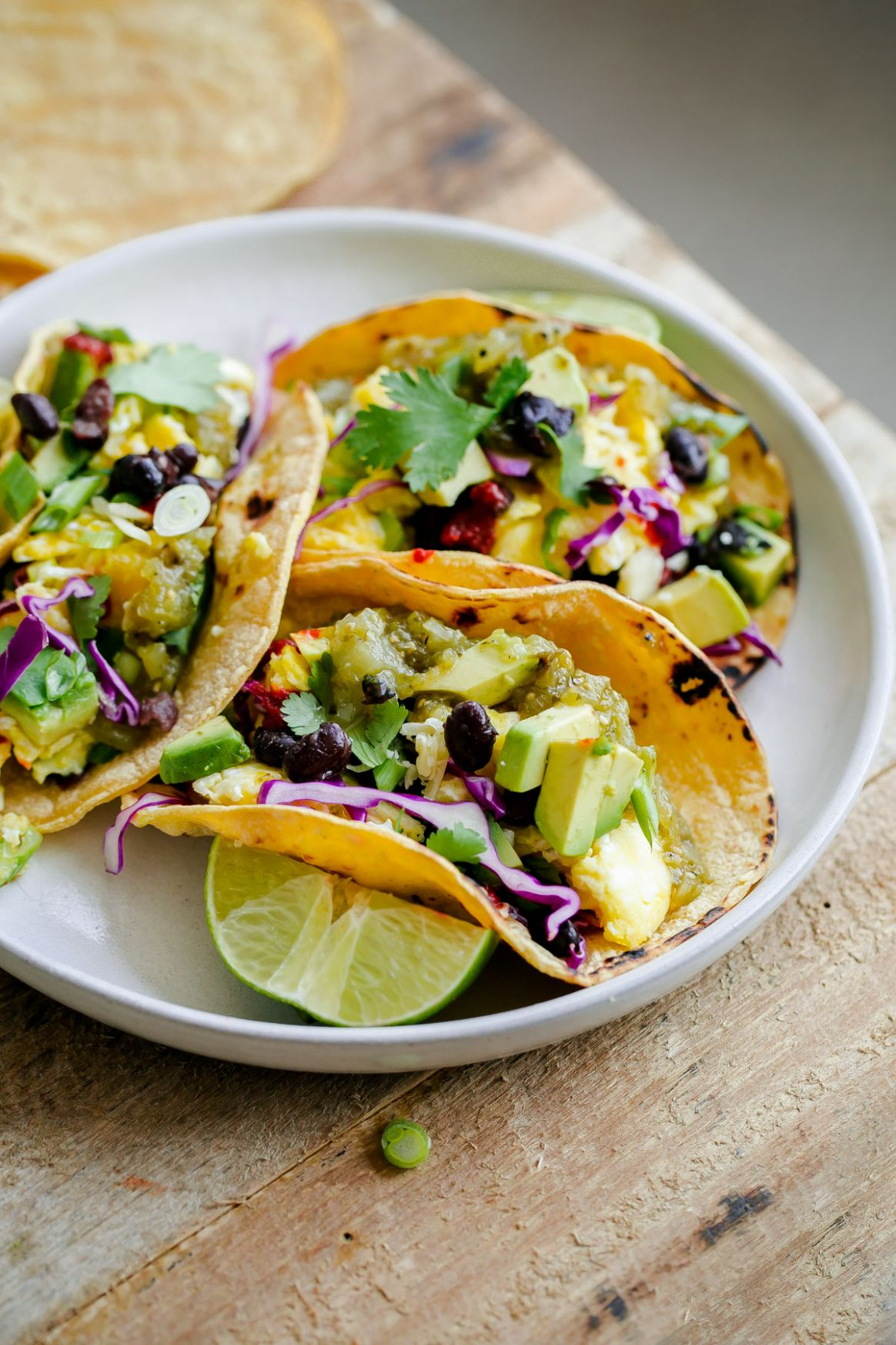 Vegetarian Breakfast Tacos - A Beautiful Plate - Breakfast Recipes Vegetarian