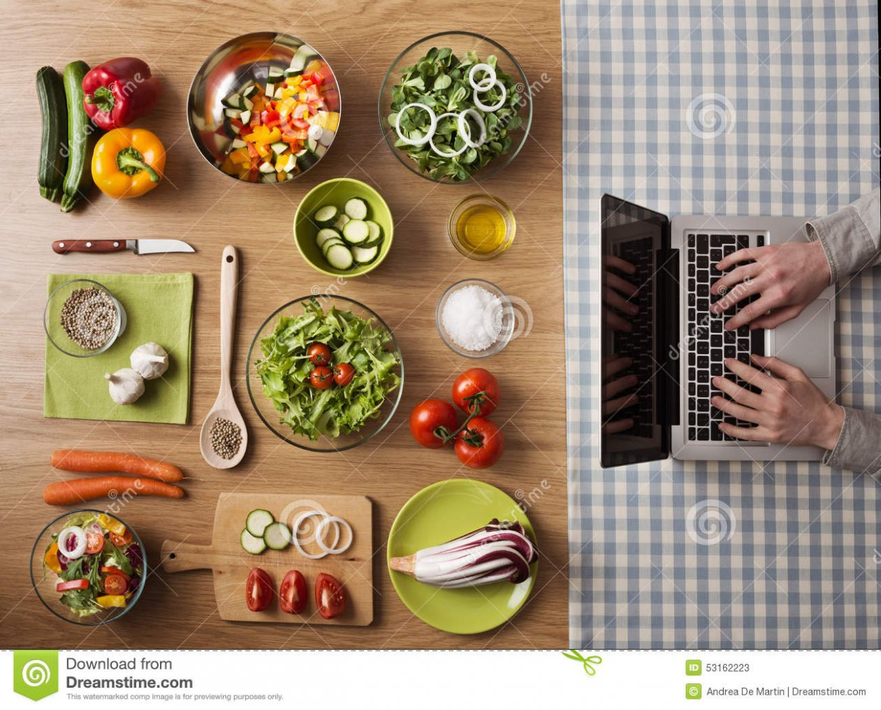 Vegetarian Healthy Food Online Recipes Stock Image - Image of ..
