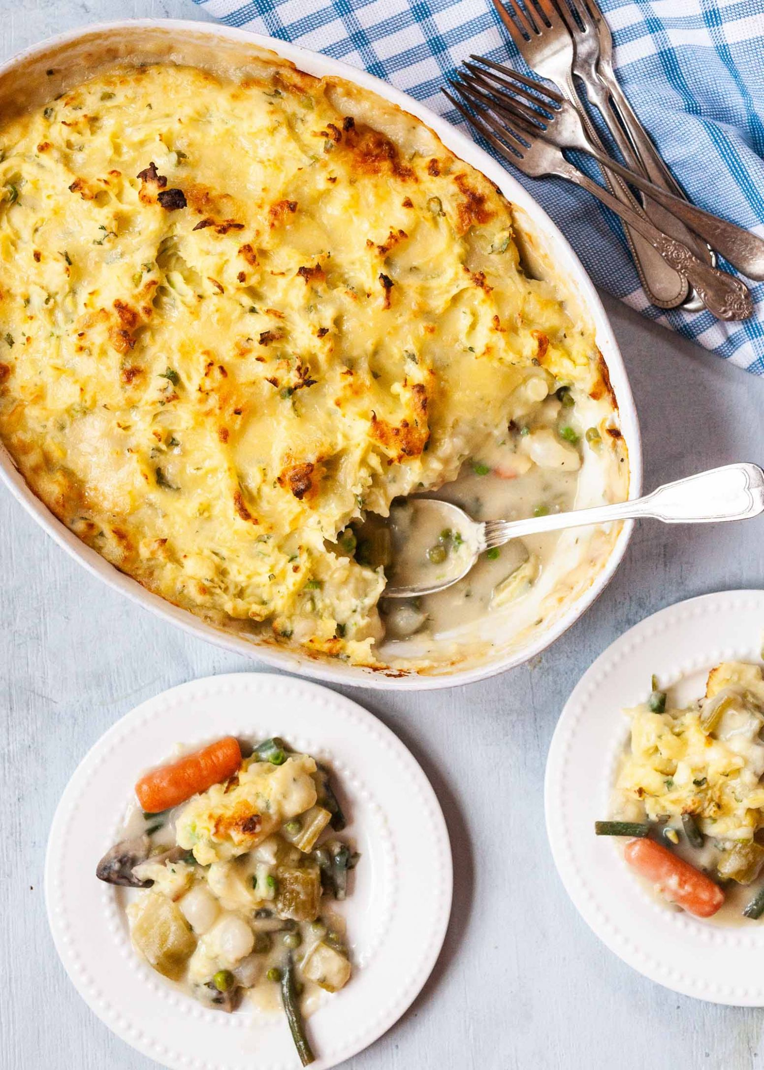 Vegetarian Shepherd's Pie with Carrots and Mushrooms