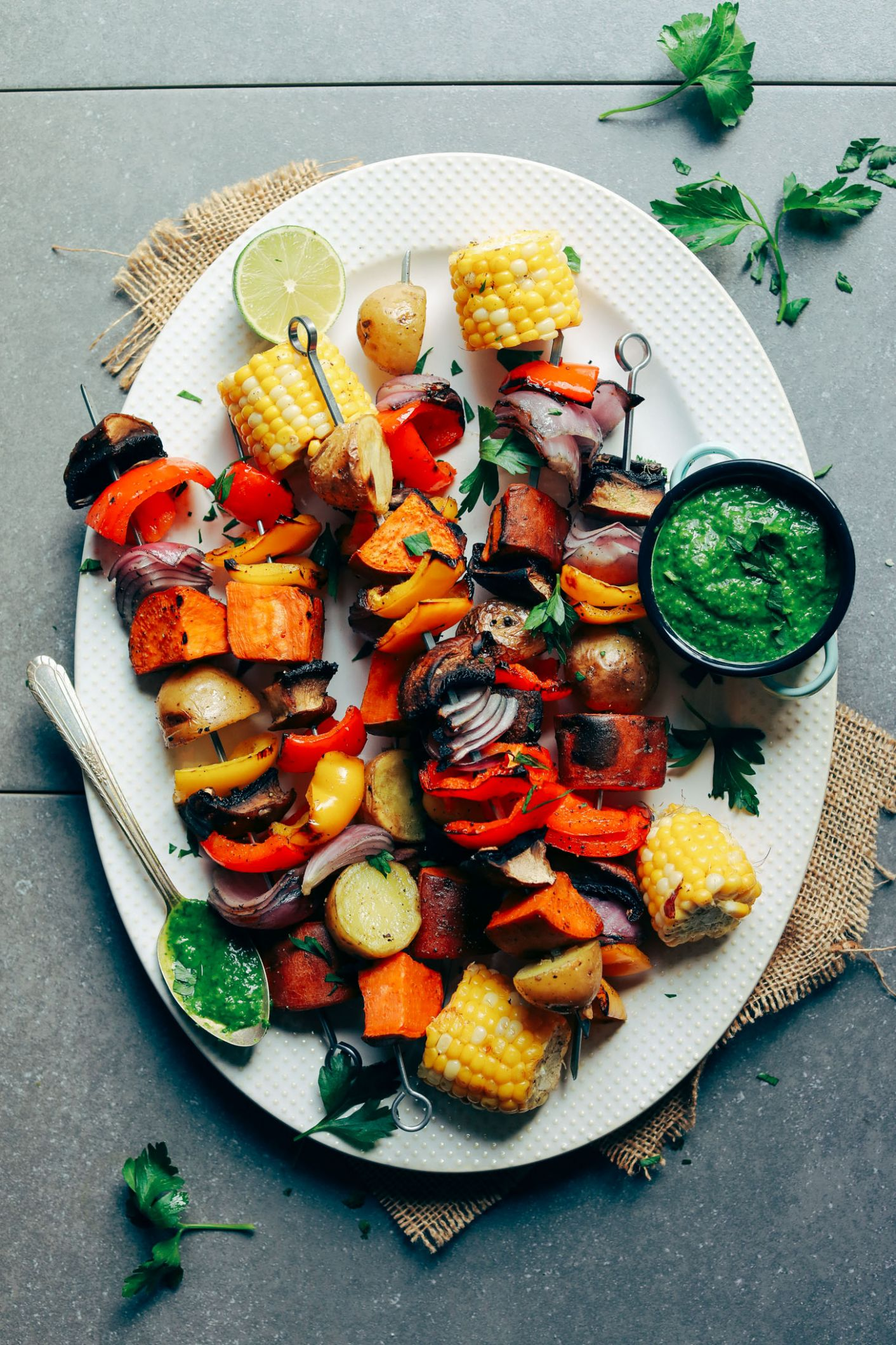 Veggie Skewers with Chimichurri Sauce - Vegetable Recipes Bbq
