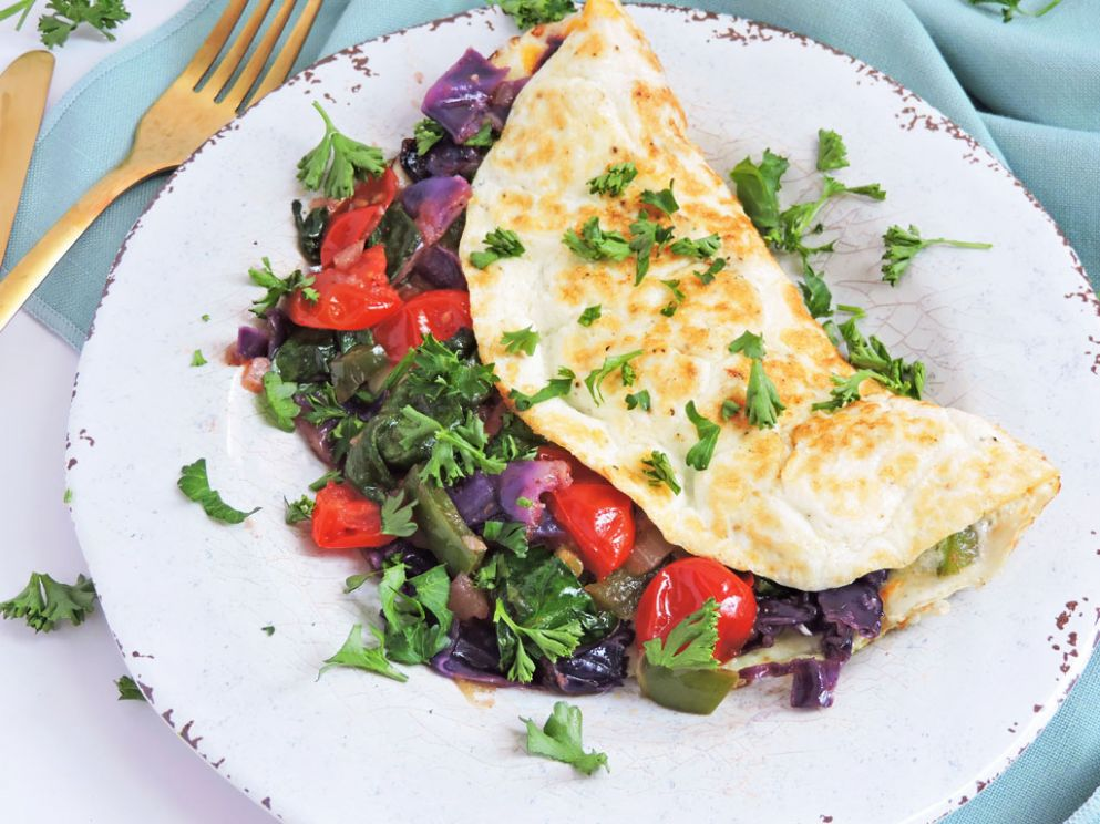 Veggie Stuffed Egg White Omelet