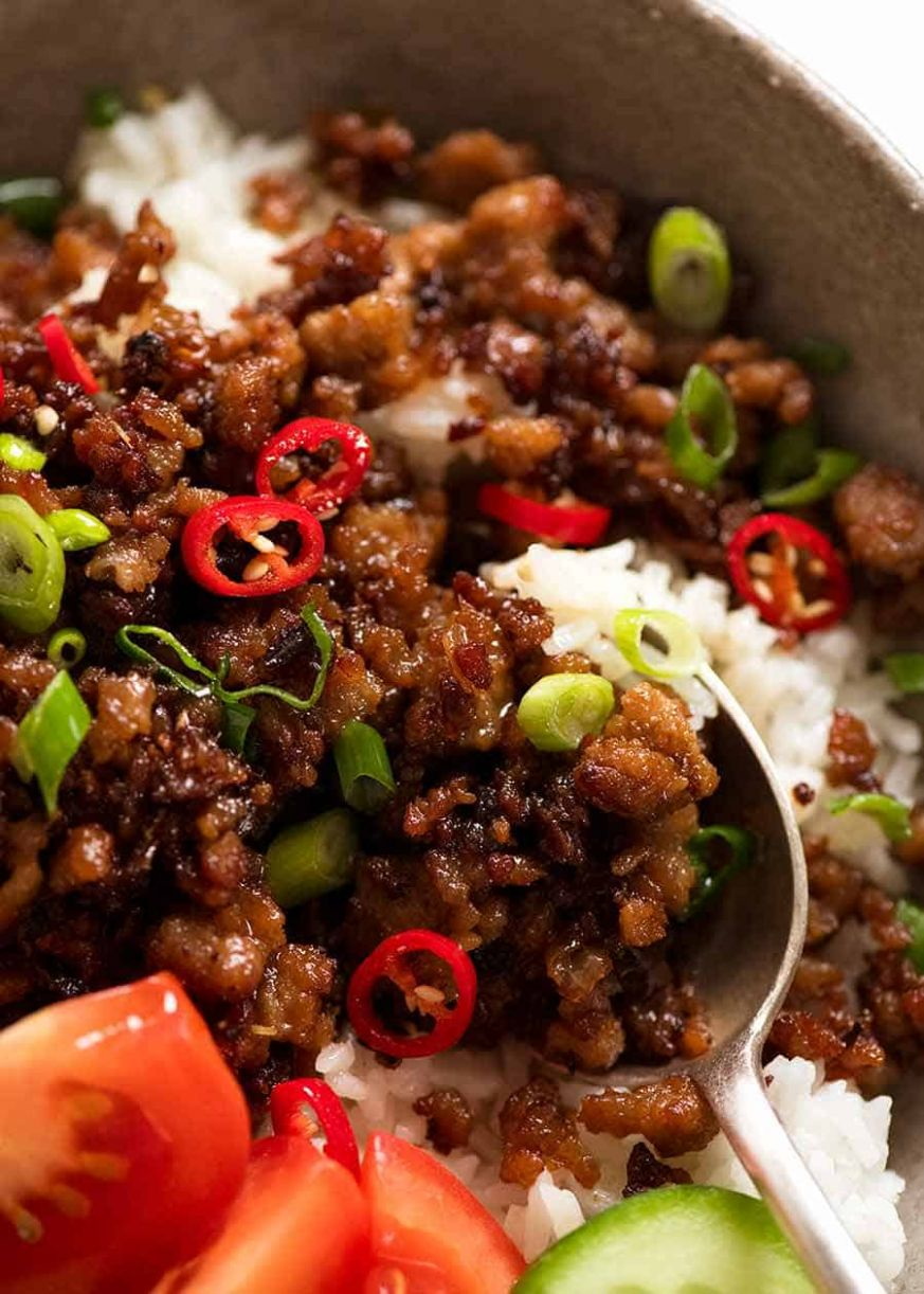 Vietnamese Caramelised Pork Bowls - Dinner Recipes Mince
