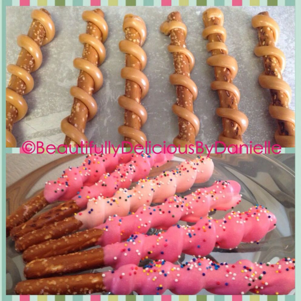 Yummy Caramel Swirl pretzel rods dipped in Chocolate By ..