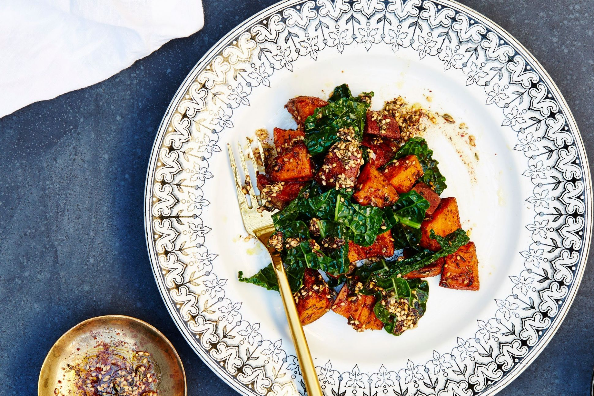 Za'atar Sweet Potatoes and Garlicky Kale