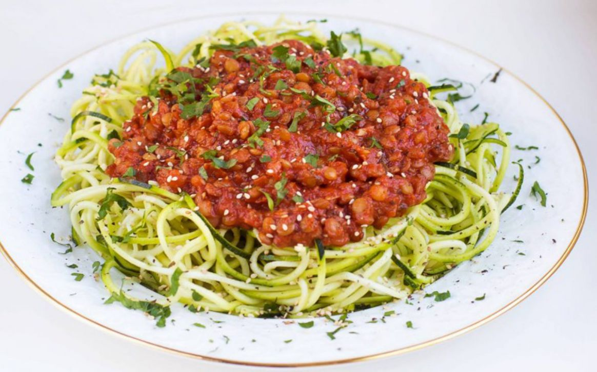 Zucchini Pasta With Spicy Tomato and Lentil Sauce [Vegan, Gluten-Free]